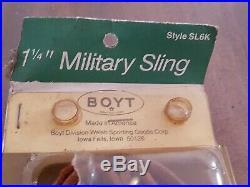 NEW-Boyt-SL6K Adjustable 1 1/4 Leather Military Sling-Rifle Shotgun & Swivels