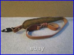 NOSVtg. AA&E Padded Top Grain Brown Leather Rifle Shotgun Gun SlingBuck Scene