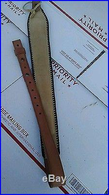 NOS Vintage Leather Padded Rifle Sling with TOOLED USA & EAGLE BLACK BRAIDED SIDES