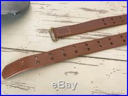 New leather Heavy thick gun rifle sling belt brass hooks adjustable WW2 Style