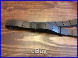 Original WWI US 1907 Leather Rifle Sling, LADEW 1917 L. H. A. WWII USGI