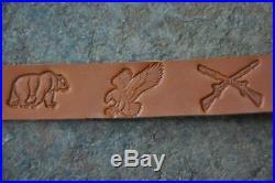 Quantity of 3 Custom Quality Leather Rifle Gun Sling Amish Made Adjustable NEW