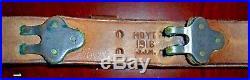 RARE Original WW1 M1907 Leather Rifle Sling Marked Hoyt 1918 JJM Brass Hardware