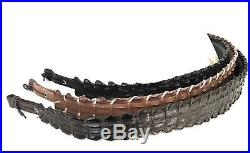 Rifle Sling Alligator Leather Padded Belt with Swivels, Durable Gun Strap. One