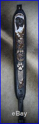 Rifle Sling, Black Leather, Hand Carved, Big Bad Wolf by Seelye Leather Works