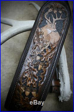 Rifle Sling, Brown Leather, Hand Carved, Prize Buck Made in the USA