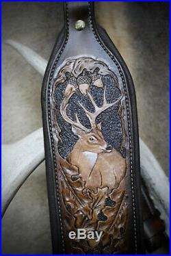 Rifle Sling, Brown Leather, Hand Carved, Prize Buck / Winter Made in the USA