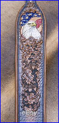 Rifle Sling, Brown Leather, Hand Carved and Tooled in USA, Eagle Eye
