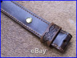 Rifle Sling, Brown Leather, Hand Carved and Tooled in USA, Mountain Lion