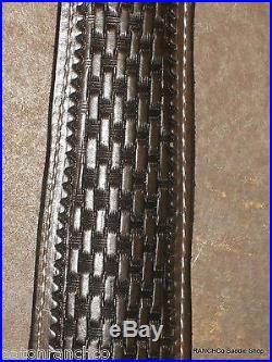 Rifle Sling Leather Basket Hand Tooled Bianchi Lined Padded Custom Dark Oil 1211