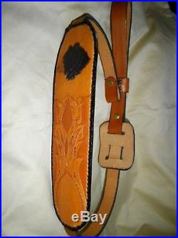Rifle Sling, Leather, Bear, Hand Carved And Made. Padded