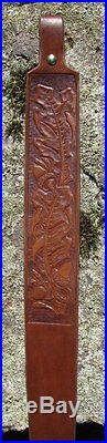 Rifle Sling Oak Leaves Carved Leather Hand Made USA Name or Initials added FREE