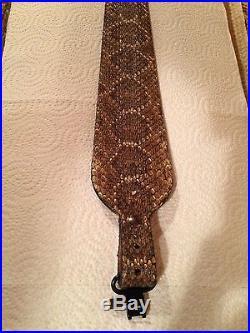 Snake skin Gun sling Western Diamondback and leather hand crafted adjustable