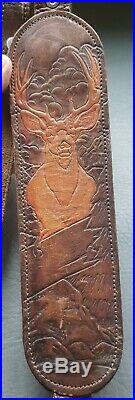 Tooled Leather Rifle Sling Deer Scene Winchester Model 70 Pre 64