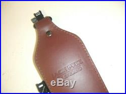 Traditional English Brown Leather Wide Cobra Hunting Rifle Sling & Qd Swivels