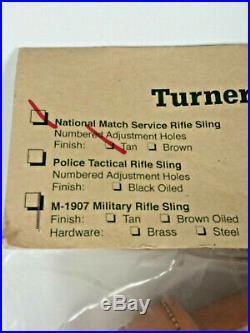 Turner Saddlery National Match Service Rifle Sling Leather Tan 58 New Sealed