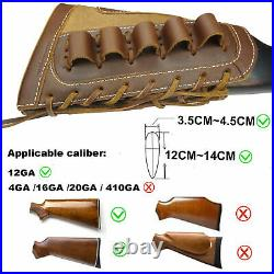 UK 1 Set Leather Canvas Shotgun Ammo Buttstock + Matched Rifle Sling For 12GA