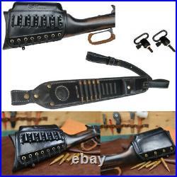 USA 1 Set Black Leather Rifle Cheek Riser Pad + Gun Shoulder Sling +Swivels