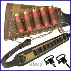 USA 1 Set Leather Canvas Shotgun Ammo Buttstock + Matched Sling For 12GA