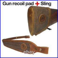 USA Canvas Leather Recoil Pad Buttstock + Matching Gun Sling For Rifle Shotgun