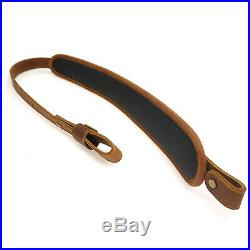 USA Crazy-horse Leather Rifle Gun Sling with Comfort Shoulder Pad Rest Hunting