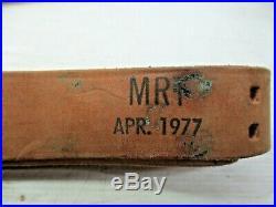 US Army USMC Leather Rifle Gun Sling 1 1/4 Wide Marked MRT APR. 1977 Marksman