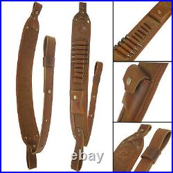 US Leather Canvas Recoil Pad Rifle With Hunting Gun Ammo Shoulder Sling Handmade