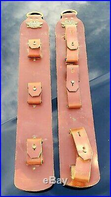 Vintage 3 Rifle / Shotgun LEATHER Gun Rack Hanging Sling 70s w U. S. Motto Badge