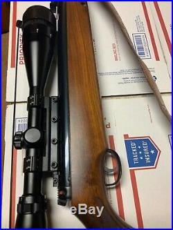 Vintage Beeman Kodiak air rifle. 25 cal withswift scope 6-18x50 and leather sling