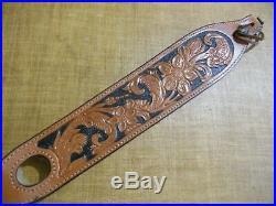 Vintage Bianchi Cobra Grande floral rifle sling swiivels shearling lined 34-38