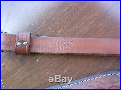 Vintage Custom HUNTER Padded Tooled Buck Acorn Leather Rifle Sling 727025 9421