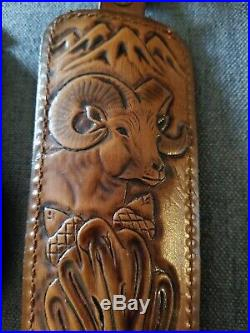 Vintage Hunter Bighorn Sheep Acorn Tooled Leather Hunting 27-30 Rifle Gun Sling