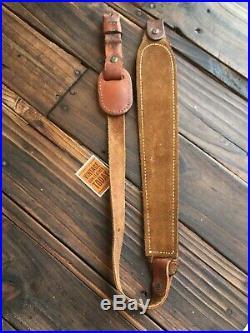 Vintage Hunter Brown stamped leather Suede Lined Adjustable Rifle Sling