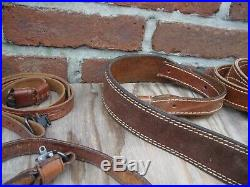 Vintage Lot Of 10 Leather And Suede Tooled Slings + Swivels Gunsmiths Estate