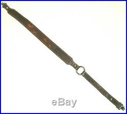 Vintage Pathfinder Leather Rifle Sling Hand Tooled Padded With Swivels USA Made