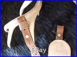 Vintage Stalker Brown leather Deer Carved Padded Adjustable Rifle Sling