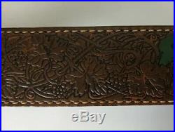 Vintage TOREL Rifle Sling #4885 Deer Motif Tooled Leather Cowhide Padded in Box