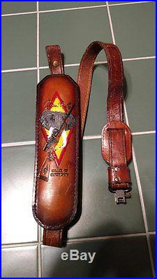 WEATHERBY Factory Vintage Leather Elephant Head Rifle Sling, used Condition